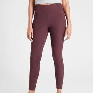 Athleta Headlands Hybrid Trek Tights 0P Burgundy